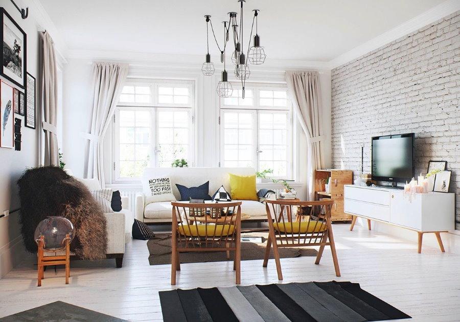 Светлая комната квартиры в скандинавском стиле