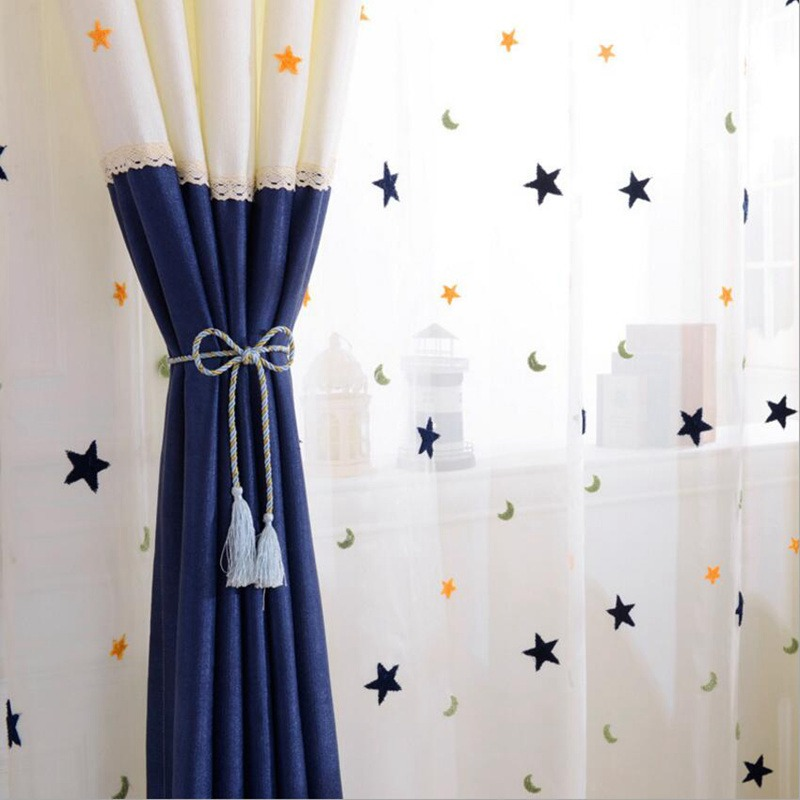 Тюлевые шторы с рисунками синих звезд