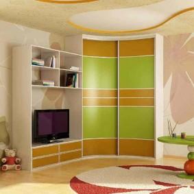 угловой шкаф в детскую комнату идеи дизайна