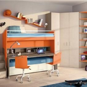 угловой шкаф в детскую комнату декор фото