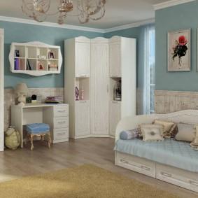 угловой шкаф в детскую комнату идеи декора