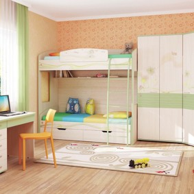 угловой шкаф в детскую комнату интерьер