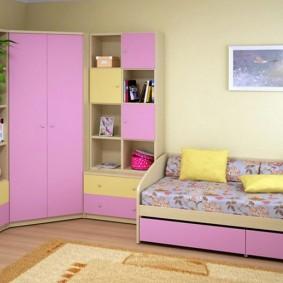 угловой шкаф в детскую комнату интерьер фото