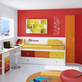 угловой шкаф в детскую комнату виды декора