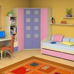 угловой шкаф в детскую комнату дизайн