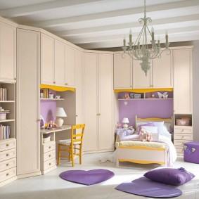 угловой шкаф в детскую комнату дизайн фото