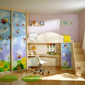 угловой шкаф в детскую комнату фото дизайна