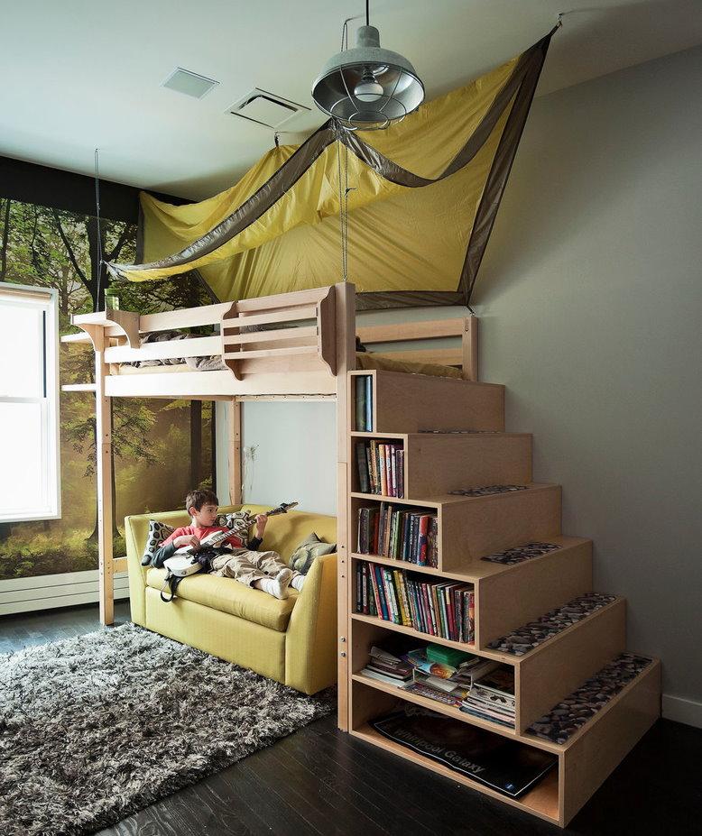Кровать-чердак для школьника средних классов