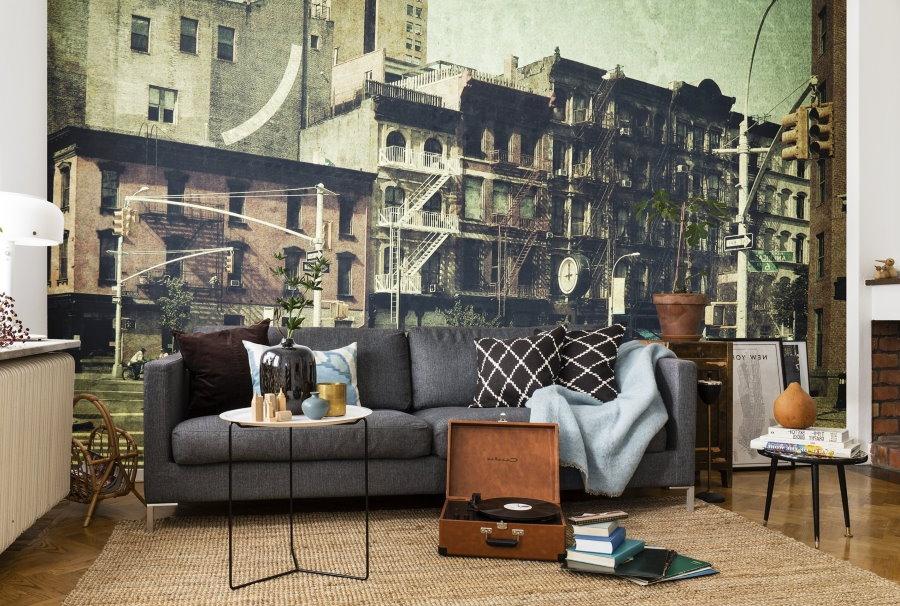 Фотообои в гостиной комнате урбанистического стиля