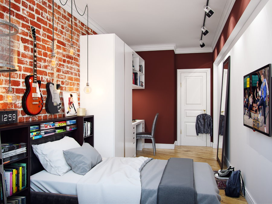 Узкая комната с кирпичной стеной для мальчика 15 лет