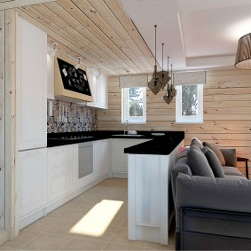 вагонка на кухне фото