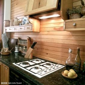 вагонка на кухне декор фото