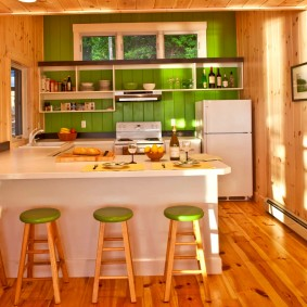 вагонка на кухне идеи