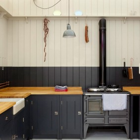 вагонка на кухне фото интерьер