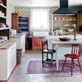 вагонка на кухне фото интерьера