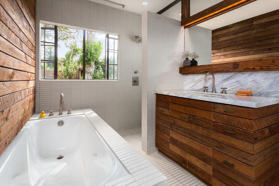 ванная комната 2019 дерево в интерьере