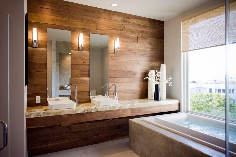 ванная комната 2019 ламинат на стене