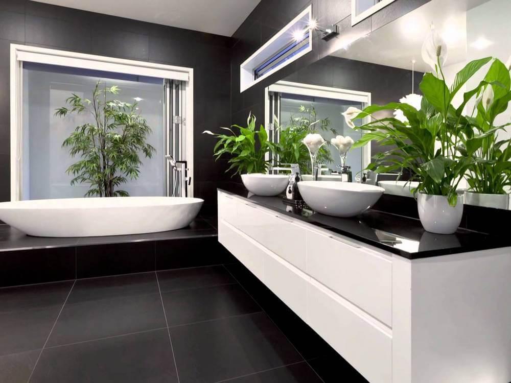 ванная комната 2019 с растениями