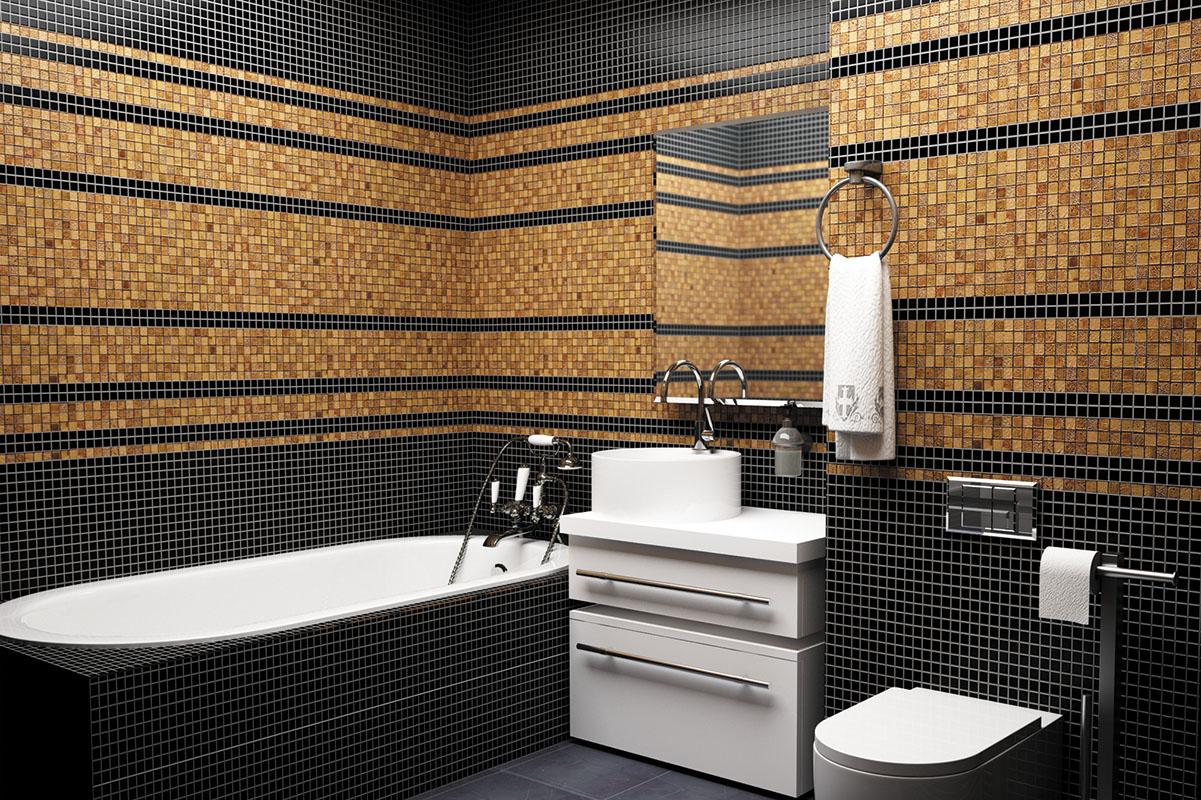 ванная комната 2019 с мозаичной плиткой