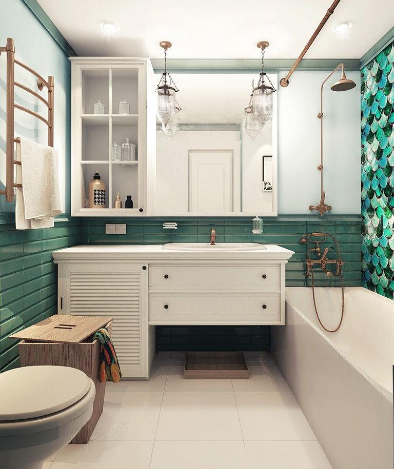 Винтажный декор в ванной панельного дома