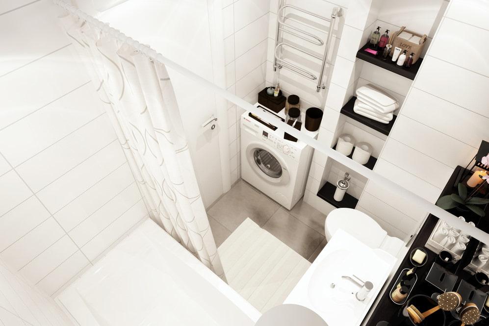 Дизайн совмещенной ванной комнаты в квартире-студии 33 кв м