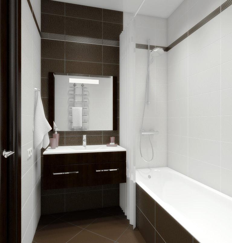 Коричневая плитка в ванной двухкомнатной квартиры