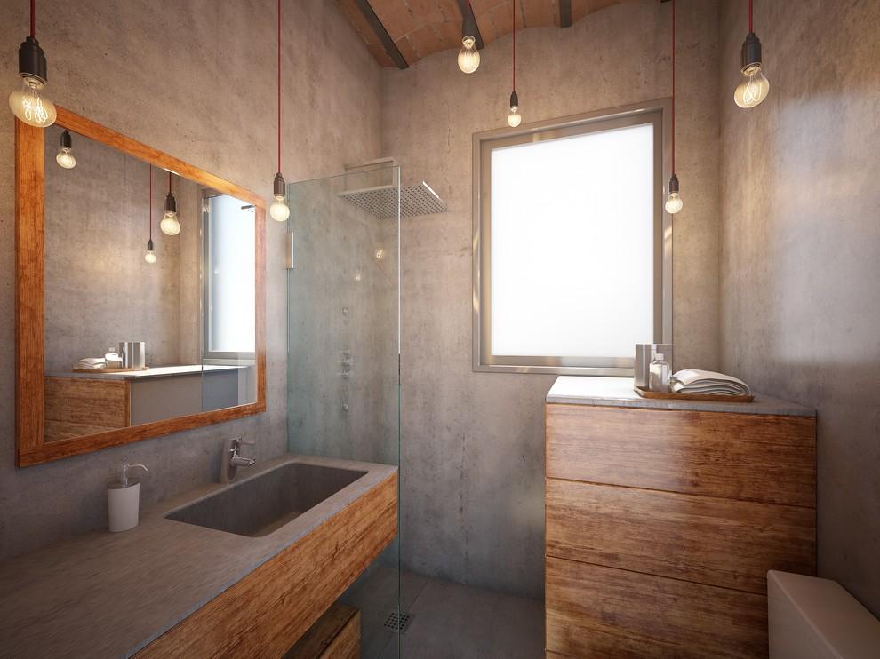 Тропический душ в маленькой ванной без туалета