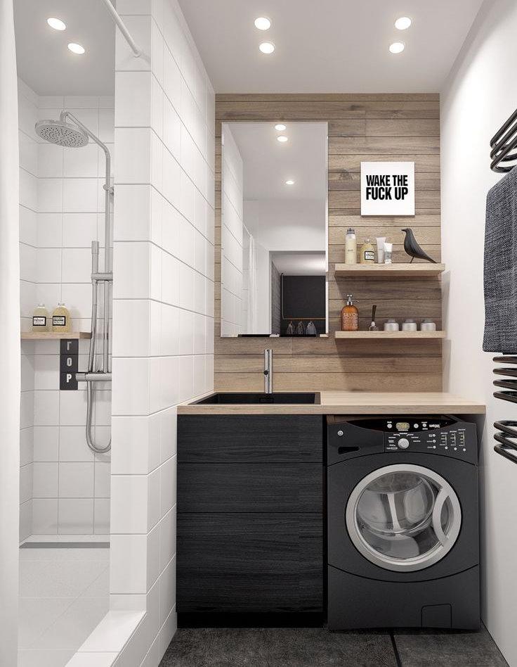 Место для стиральной машинки под столешницей в ванной