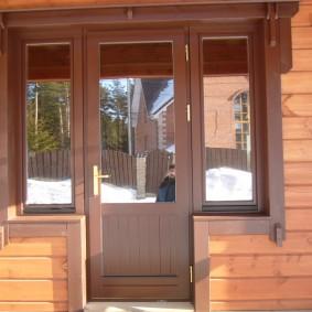 входные деревянные двери фото оформление
