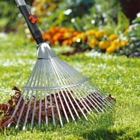 Уборка веером листьев с поверхности газона