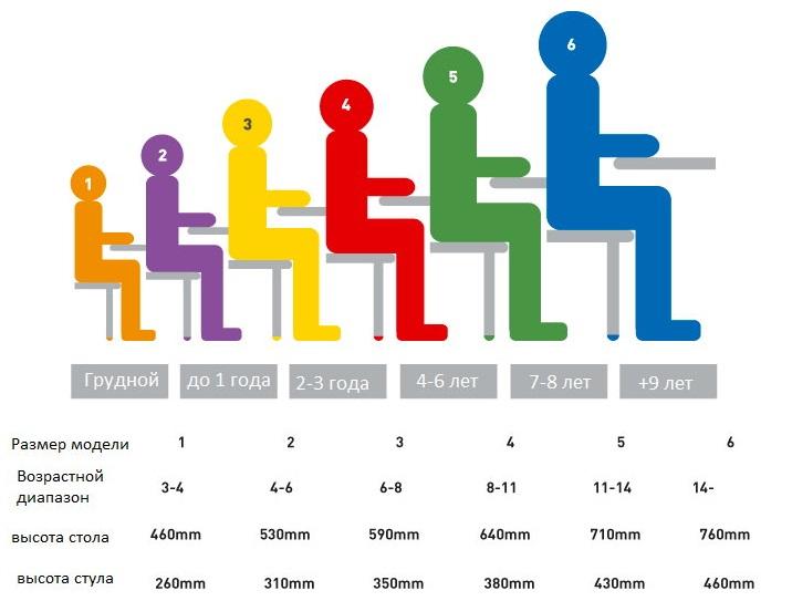 Таблица подбора высоты стула и стола для детей разного возраста