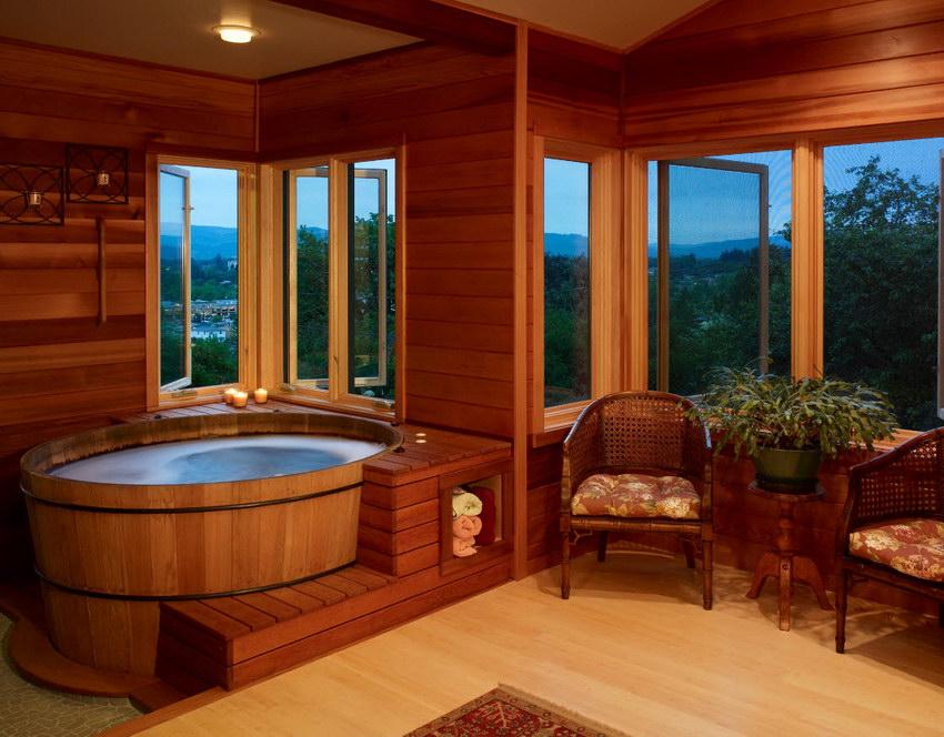 японская деревянная ванная