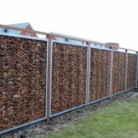 забор из габионов фото оформление