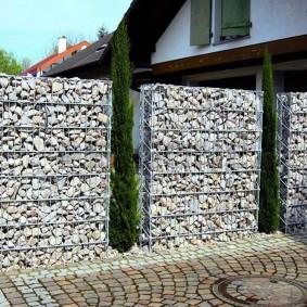 забор из габионов фото оформления
