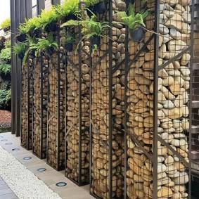 забор из габионов фото варианты