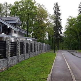 забор из габионов виды дизайна