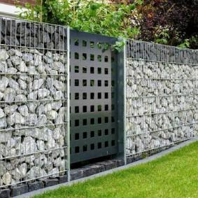 забор из габионов виды оформления