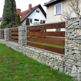забор из габионов варианты дизайна