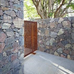 забор из габионов фото идеи