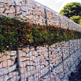 забор из габионов фото дизайн