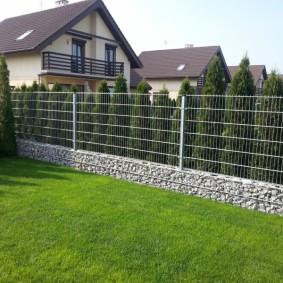 забор из габионов декор