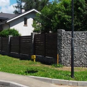 забор из габионов декор фото