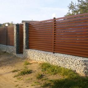 забор из габионов дизайн фото