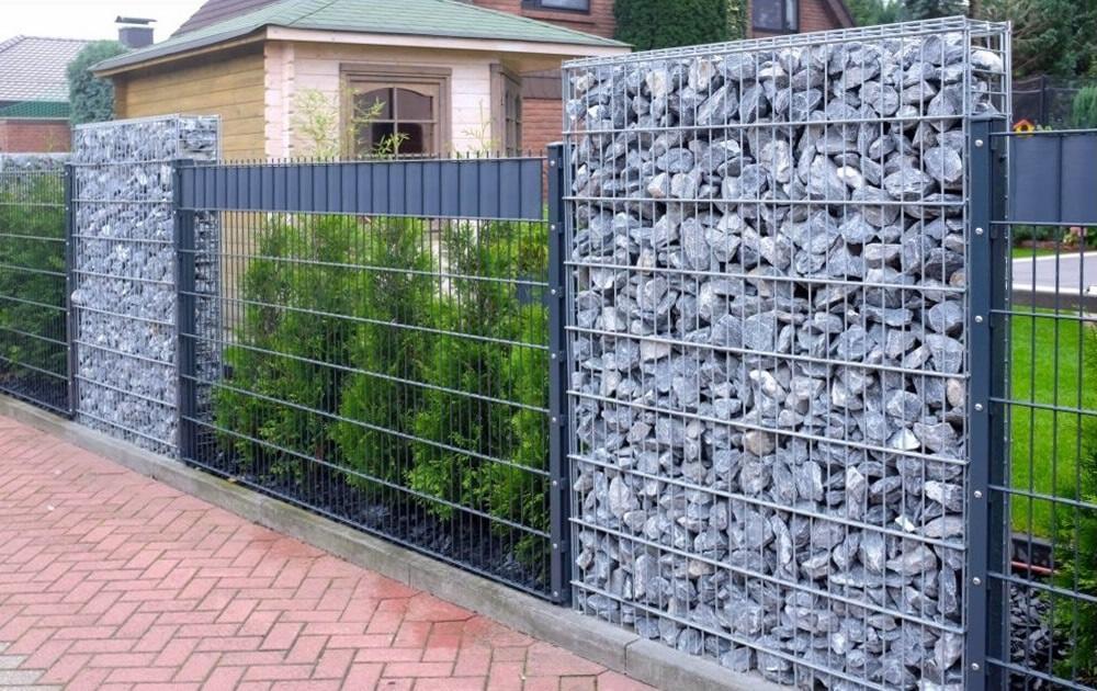 забор из габионов идеи