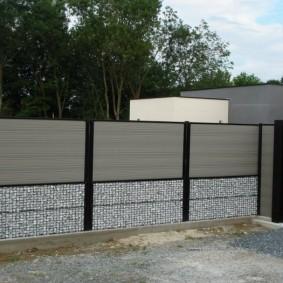 забор из габионов оформление фото