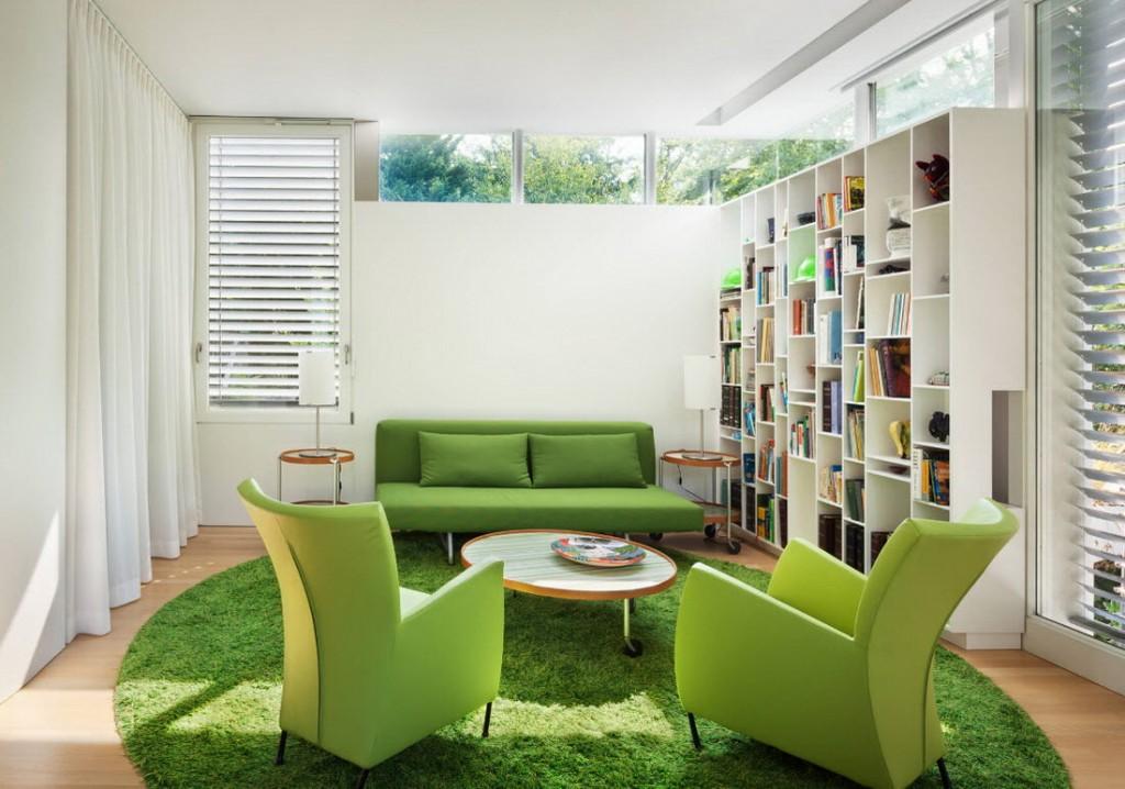 Зеленая мебель в современной гостиной