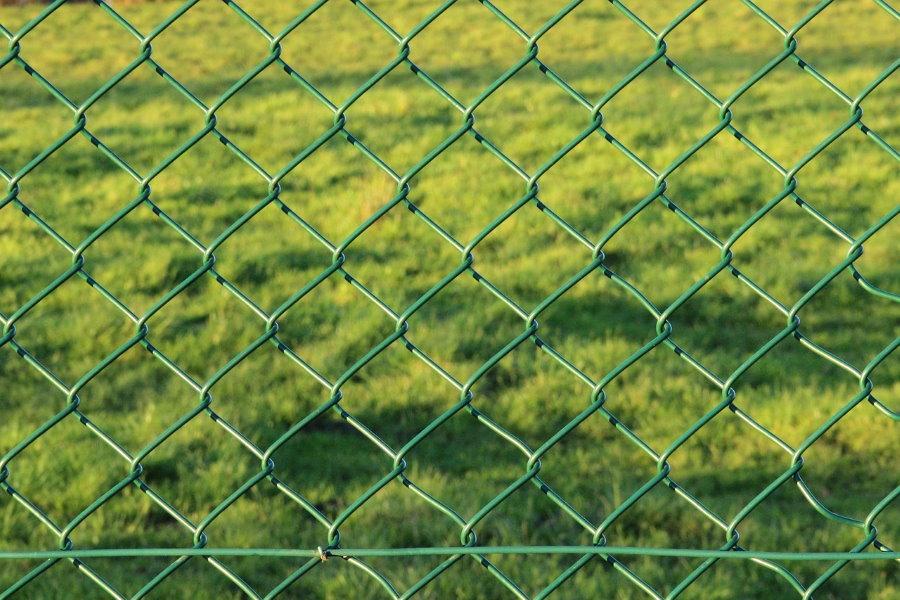 Зеленая сетка рабица на садовом заборе