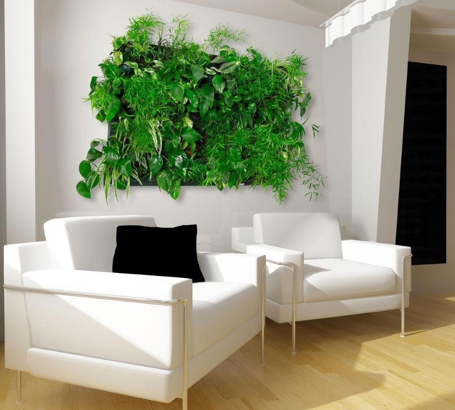 Панно из зеленых растений за белыми креслами в гостиной