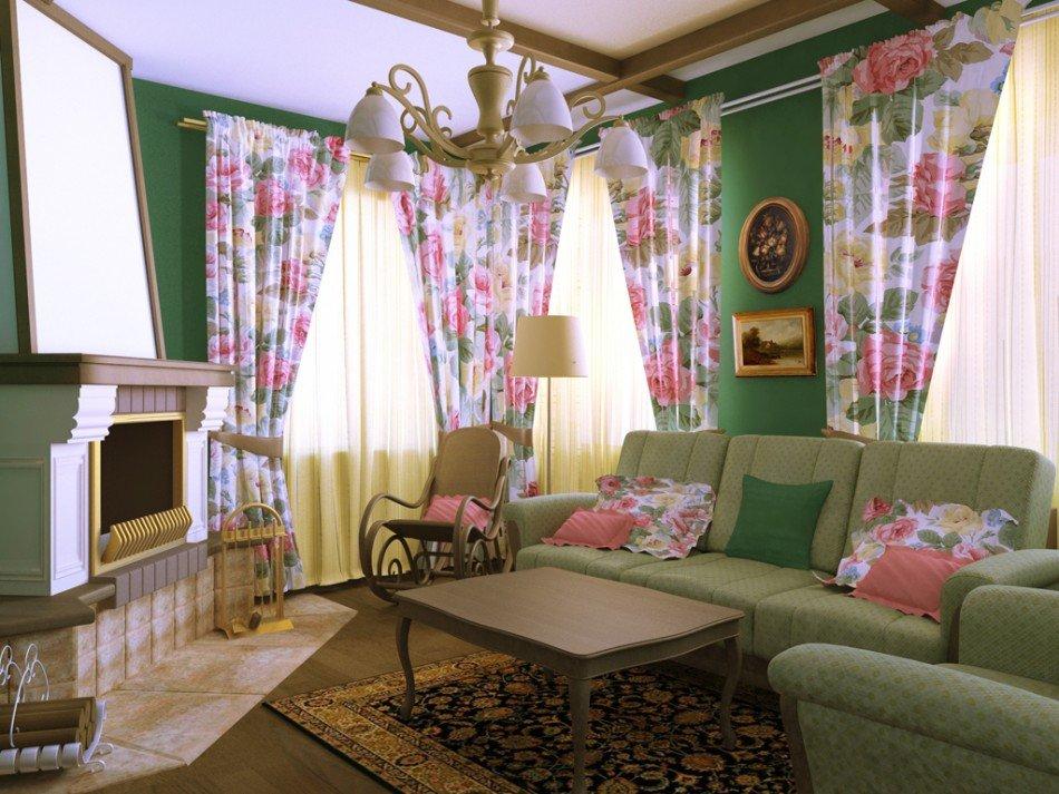 Интерьер гостиной в стиле прованс с диваном