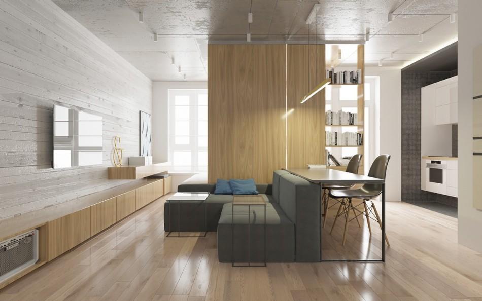 Зонирование мебелью однокомнатной квартиры 42 кв м